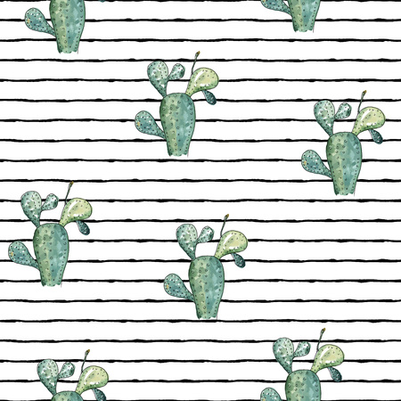 Vector illustration. Cactus. Pen drawing with watercolor style background. Element of seamless pattern. Print design. Paper or fabric print. Ilustrace