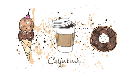 Vector illustration. Print element. Doughnut, ice-cream and a cup of coffee. Pen drawing with watercolor style background. Ilustração