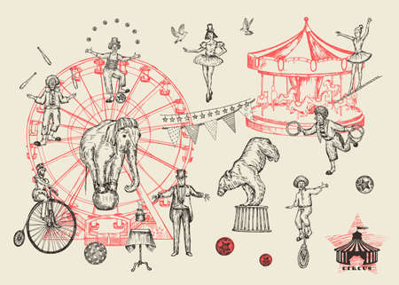 Retro circus performance set sketch stile vector illustration. Hand drawn imitation. Human and animals. 向量圖像
