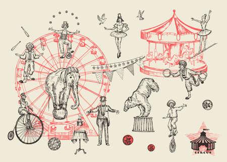 Retro-Zirkus-Performance-Set Skizze Stil Vektor-Illustration. Handgezeichnete Nachahmung. Mensch und Tier.