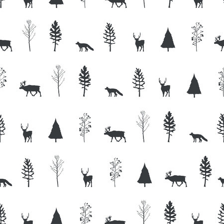 Vector illustration. Herringbones, trees,deers and fox silhouettes background. Vector seamless pattern. Fabric print element. Paper design. Vettoriali