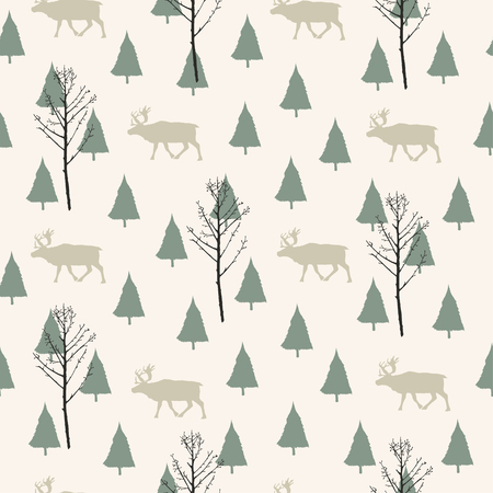 Vector illustration. Herringbones and deer silhouettes background. Vector seamless pattern. Fabric print element. Paper design.