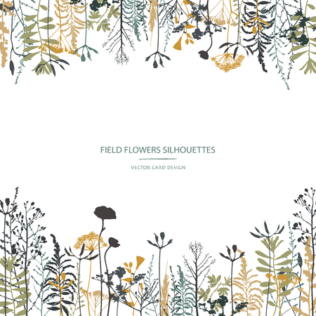 Vector silhouettes collection. Set of field flowers, herbs. Card design.