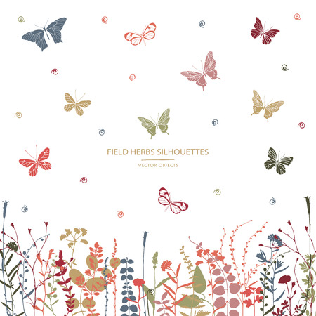 Vector silhouettes collection. Set of field flowers, herbs and butterflies. Card design. Label design.