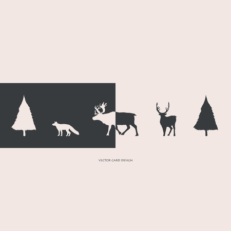 Vector illustration. Herringbones, deers and fox silhouettes. Vector card. Cover design.