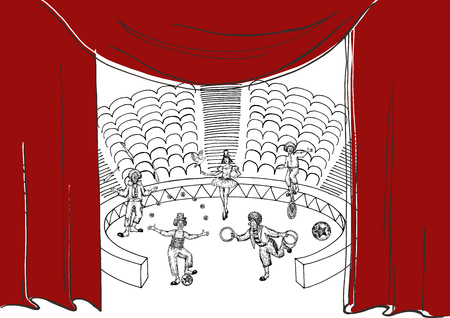 Circus performance . Sketch stile vector illustration. Hand drawn imitation. Clowns on arena and colored curtains. Vector objects.