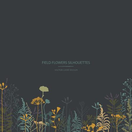 Collection de silhouettes vectorielles. Ensemble de fleurs et d'herbes des champs. Conception de carte. Conception d'étiquettes. Vecteurs