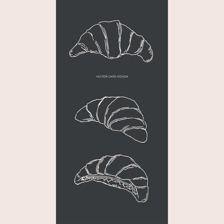 Vector illustration. Pen style drawn croissants. Vector card design.