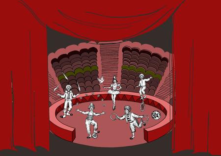 Actuación de circo. Ilustración de vector de estilo boceto. Imitación dibujada a mano. Payasos en la arena y cortinas de colores. Objetos vectoriales.
