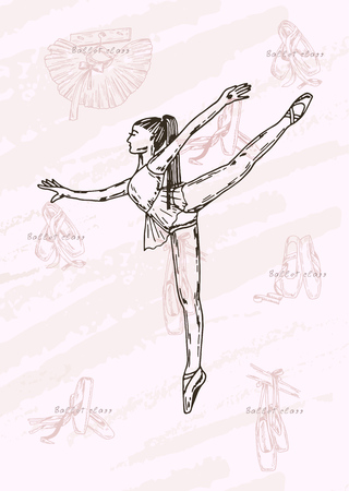 Vector sketch. Ballet dancer and accessories. Vector pen style objects set.