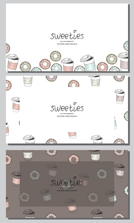 Vector visiting cards design set. Cute vector doughnuts and coffee cups .