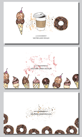 Vector visiting cards design set. Cute vector doughnuts , ice-cream and coffee cup .