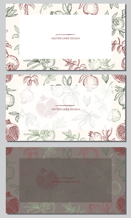 Vector illustration. Pen style drawing pomegranates. Cards design set. Vectores
