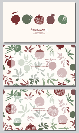 Vector illustration. Stylized pomegranate. Cards design set.