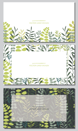 Vector silhouettes collection. Set of field herbs, flowers. Set of visiting card design.