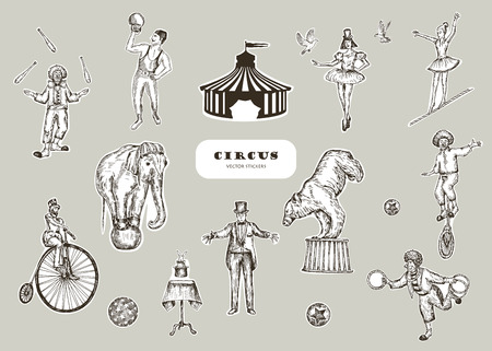 Retro circus performance set sketch stile vector illustration. Hand drawn imitation. Human and animals. Stickers design.