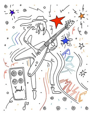 Vector illustration. Rock musician. Man playing guitar. Doodle doodle sketch. Vettoriali
