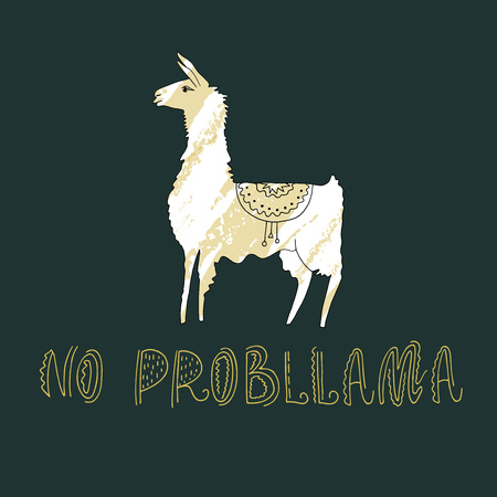 Vector illustration. Hand drawn llama with amazing text. Ilustração
