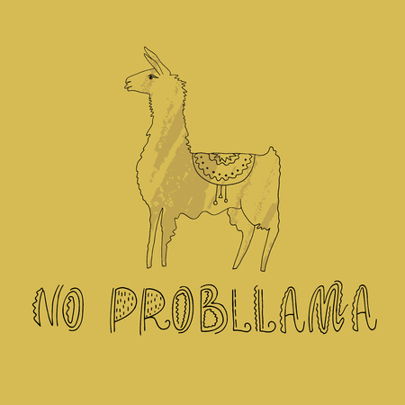 Vector illustration. Hand drawn llama with amazing text. Ilustrace