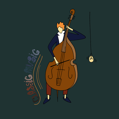 Vector illustration. Stylized guy playing the cello. Doodle style sketch. Illustration
