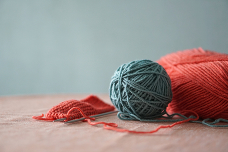 Color thread for knitting. Yarn balls. Colors concept 스톡 콘텐츠