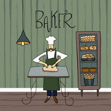Vector illustration. The chef prepares the dough for baking. Baker in the bakery interior. Bread in the window.