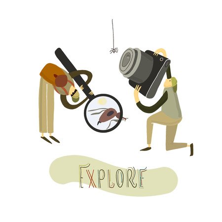 Vector illustration. Two guys explore the nature. Hand drawn stylized people. 矢量图像