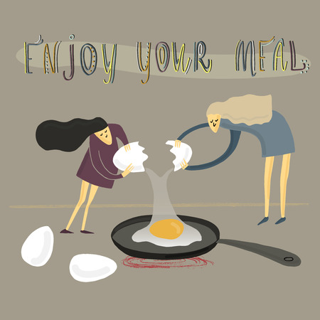 Two girls fry an egg. Big and small. Stylized people. Vector illustration.