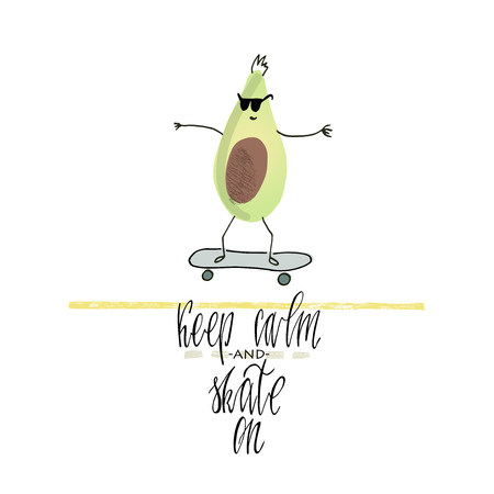 Avocado skater . Quote and drawing. Freehand drawn avocado and text . Vectores
