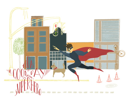 Hand drawn illustration with lettering and drawing. Superhero in the city background.