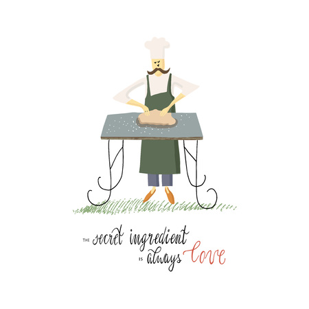 Vector illustration. The chef prepares the dough for baking. Illustration