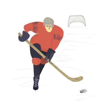 Vector hand drawn illustration. Stylized hockey player on ice background.