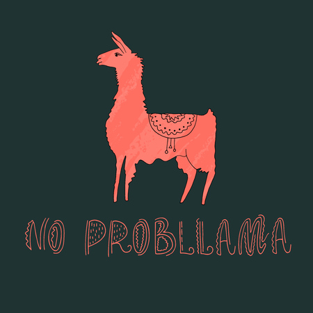 Vector illustration. Hand drawn llama with amazing text. Ilustração