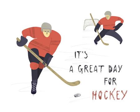 Vector hand drawn illustration. Stylized hockey players on ice background.