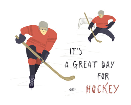 Vector hand drawn illustration. Stylized hockey players on ice background.