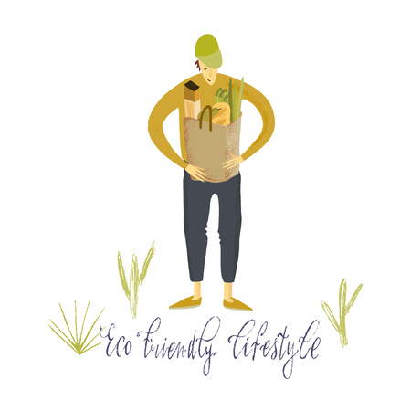 Hand drawn vector illustration. Zero waste life. Eco style. No plastic. Go green. Guy with eco bag.