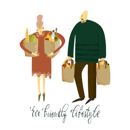 Hand drawn vector illustration. Zero waste life. Eco style. No plastic. Go green. Women and man with eco bags.