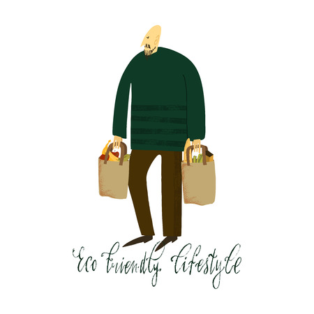 Hand drawn vector illustration. Zero waste life. Eco style. No plastic. Eco shopping. Man with eco bags.