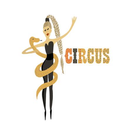 Vector illustration. Hand drawn imitation. Human and animals. Girl with snake. Circus performance. Vector Illustration