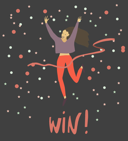 Girl crossing finishing line . Happy woman winning race and coming first to finish red ribbon . Confetti background . Vector flat illustration