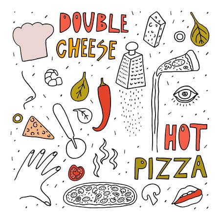 Bosquejo del vector del estilo del doodle del pizzero. Dibujo a mano alzada con elemento de colores