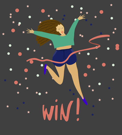 Girl crossing finishing line . Happy woman winning race and coming first to finish red ribbon . Confetti background . Vector flat illustration Ilustração
