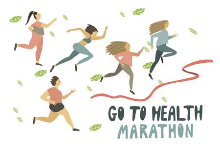 Woman s race marathon . Running girls . Healthy lifestyle . Freehand drawing vector flat illustration