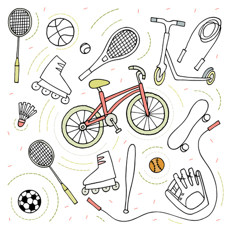 Doodle style sketch . Sport activity Bike , roller skates , scooter , skateboard , balls , tennis rackets , rope , baseball equipment Vector sport objects Vettoriali