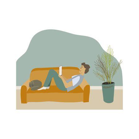 Uomo sdraiato sul divano con il gatto che guarda il blocco note Vector flat illustration