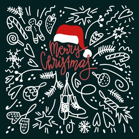 Doodle style Christmas card . Lettering and objects composition. Card design Иллюстрация