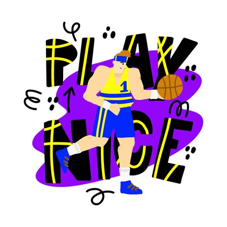 Basketball player on colorful background with text Play Nice