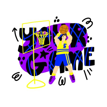 Basketball player on colorful background with text Your Gam