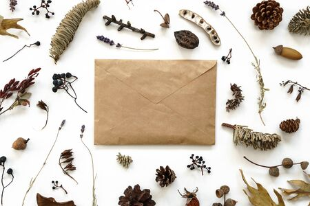 Dried flowers leaves and berries composition around letter cover