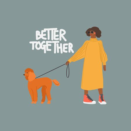 Young girl with poodle dog. Autumn fashion look. Vector flat illustration